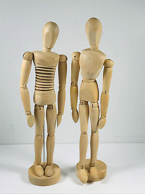 Pair (x2) Wood wooden Art Form Mannequin model articulated NICE