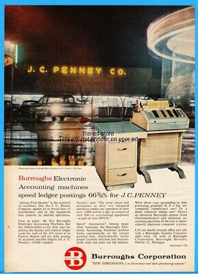 1959 Burroughs Electronic Accounting Machines JC Penney Store Night Print Ad
