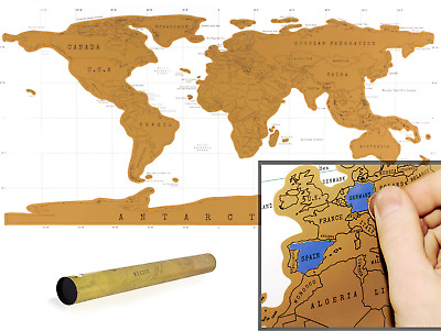 Large Size Scratch Off World Map Poster Personalized Travel Vacation Log Tube UK