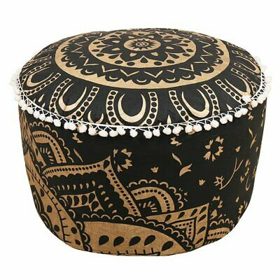 "18"" Indian Ombre Mandala Black Gold Ottoman Round Pouf Cover Floor Decorative"