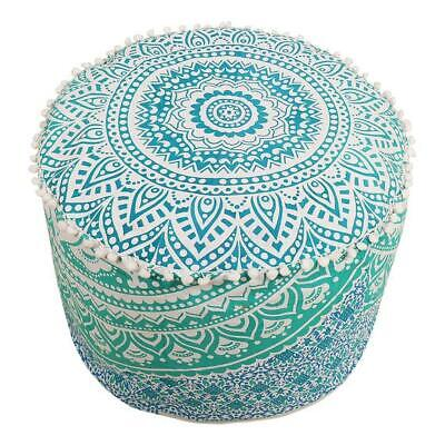 "New 18"" Ombre Mandala Round Ottoman Pouf Cover Footstool Cotton Fabric Indian"
