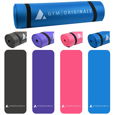 Yoga and Pilates Exercise Gym Mat Mats 10mm NBR Foam with Carry Strap Non Slip