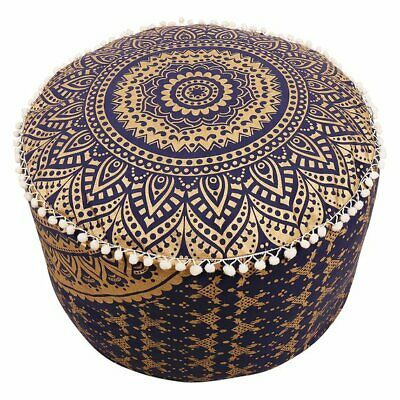 "18"" Blue Gold Vintage Ottoman Pouf Cover Indian Mandala Round Floor Decorative"