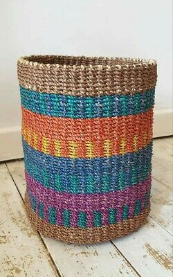 30% off was £26.99 now £18.99 multi Coloured abaca Basket Brand New 100% abaca