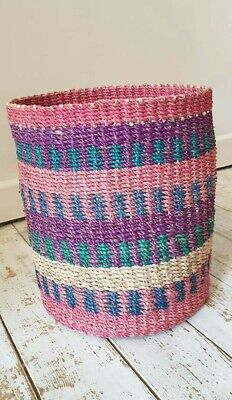 Multi Coloured abaca Basket 100% Abaca Fiber Brand New