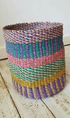 Multi Coloured abaca Basket 100 % Abaca