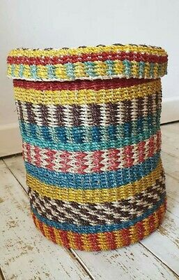 Multi Coloured abaca Basket with Lid 100%abaca fiber Brand New