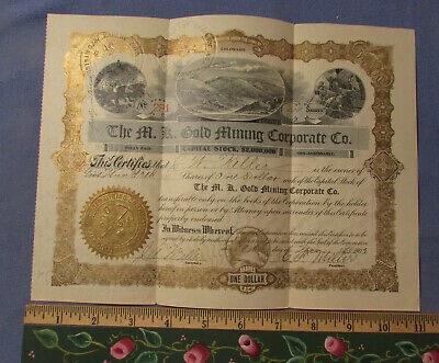 Vintage 1903 M K Gold Mining Stock Certificate 500 Shares Colorado Co
