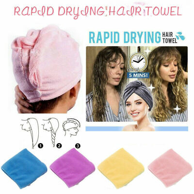 RAPID DRYING HAIR TOWEL Thick Absorbent Shower Cap Fast