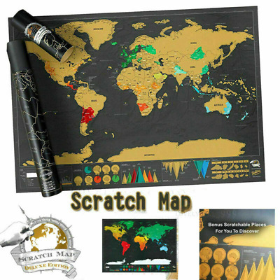 UK Deluxe Large 42X30 cm Scratch Off World Map Travel Holiday Poster Wall Paper