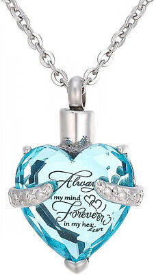 SG Heart Cremation Urn Pendant Necklace for Ashes Dull Silver Tone + Blue