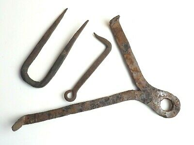 Antique Hand Wrought Forged Iron Tool Implements Lock Hook Gutter Pin Lot