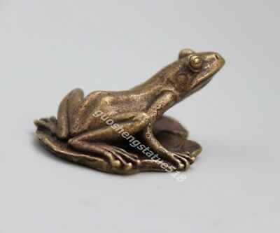 4.5 CM Bronze China Fengshui Animal happiness Common Pond Frog Sculpture Statue