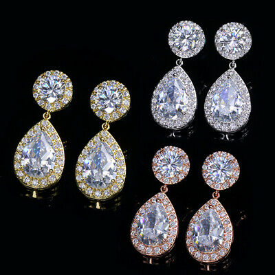 CWWZircons Classic Cubic Zirconia Rose Gold Big Pear Drop Earrings for Women