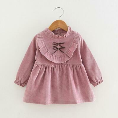 Baby Girls Cute Dress Infant Party Dresses Long Sleeve outerwear bowtie