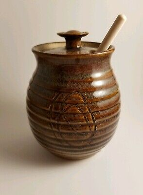 Handcrafted Stoneware Pottery Artist Signed Honey Pot Jar With Lid,  Wood Dipper