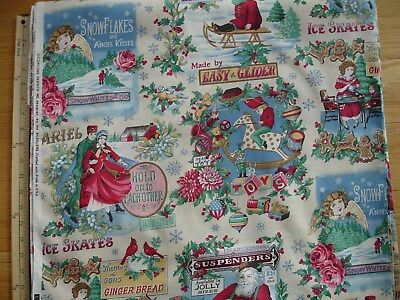Holiday Flair Holly /& Ornaments on Black Christmas Fabric by the 1//2 Yard  #3782