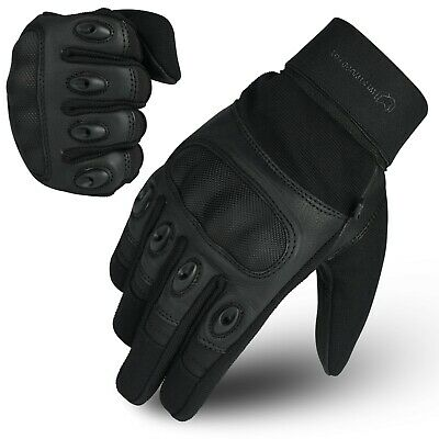 WFX Carbon Fiber Hard Knuckle All weather Biker Motorbike Motorcycle Gloves