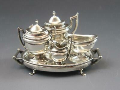 Signed Peter Acquisto Sterling Silver Miniature 4 Piece Tea Set w/ Salver 1:12