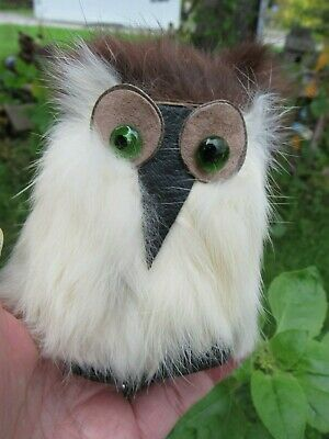 "Vintage Real Fur White Owl 5"" Taxidermy Alaska Canada Souvenir Hand Crafted Toy"