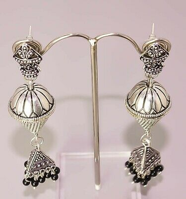 Black Onyx Handcrafted Antique Look Jewelry  925 Sterling Silver Plated Earrings