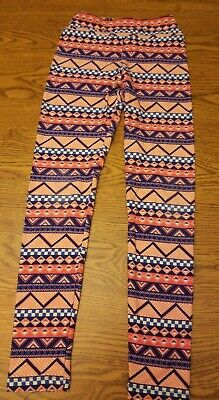 Lularoe size tween girls leggings  Orange/Blue  Geometric Pattern