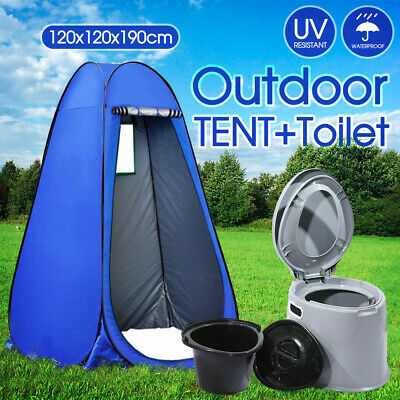 Outdoor Portable Shower Tent Privacy Change Room + 6L Camping Potty Toilet