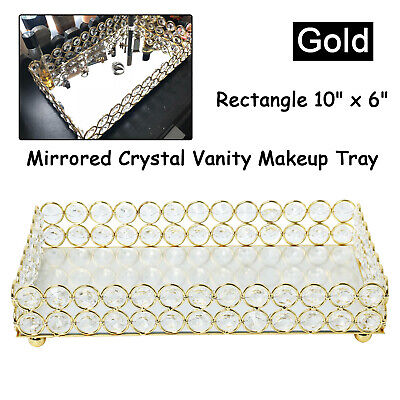 New! Crystal Mirrored Jewelry Tray Cosmetic Organizer Vanity Decorative Gold