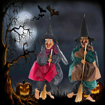 Halloween Hanging Animated Talking Witch Props Laughing Sound Control Decor USRR