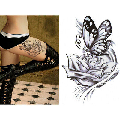 Women Large Rose Butterfly Temporary Tattoo Fake Body Art Sticker Waterproof USA