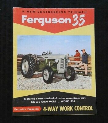 """1955 """"The New Ferguson 35 Tractor"""" Sales Brochure Huge Fold-Out Poster"""