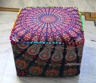 """Indian Mandala 22"""" Square Ottoman Pouf Cover Footstool Tapestry Cushion Covers"""