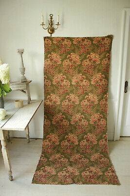 Antique French fabric 19th century jacquard weave pink & green tones 42x100 inch