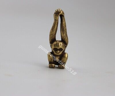 3.5 CM Pure Bronze Chinese Zodiac Animal Long arm Monkey Amulet Pendant Necklace