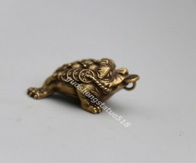 3.8 CM Chinese pure Bronze Wealth Fengshui Animal money Toad bufonid Pendants