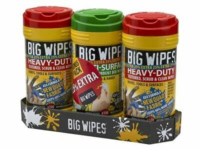 Big Wipes 3 Tubs Industrial Heavy-Duty Hand Cleaning & Multi-Surface 300 Wipes