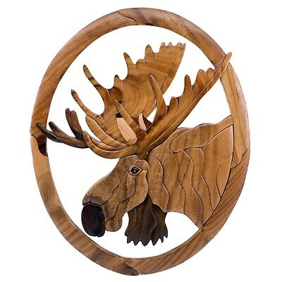 "Wood Intarsia Large Moose Head Wall Hanging 15.25"" x 12.5"" Handcrafted New!"