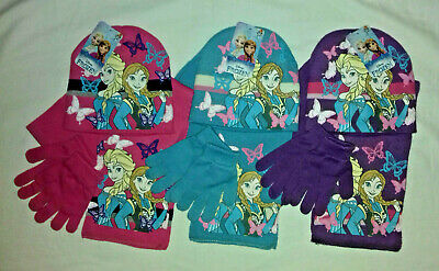 BNWT Disney Frozen beanie hat,scarf and gloves set.approx.3-5 or 5-7yrs