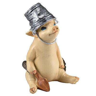 """Mini Planting Pig With Shovel and Pail On Head Figurine 2.5/"""" High New In Box!"""