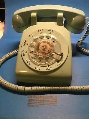 Vintage Aquamarine Turquoise Blue Phone Desk Rotary Dial Western Electric