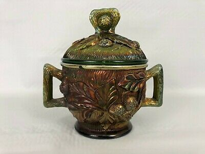 Antique NORTHWOOD ACORN BURRS Iridescent Carnival Glass COVERED SUGAR BOWL Green