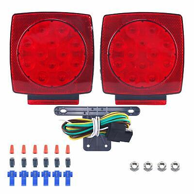 Pair Rear LED Submersible Trailer Tail Lights Kit Boat Truck Waterproof IP68
