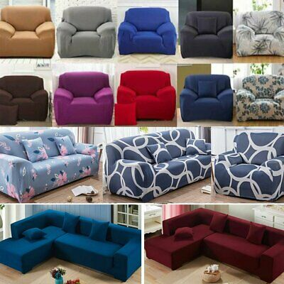 1/3/4 Seater Elastic Sofa Covers Slipcover Settee Stretch Floral Couch Protector