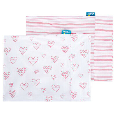 "Toddler Kid Pillowcase Envelope Style 100% Cotton 13""X18"" 14""X19"" 2 Pack Pink"