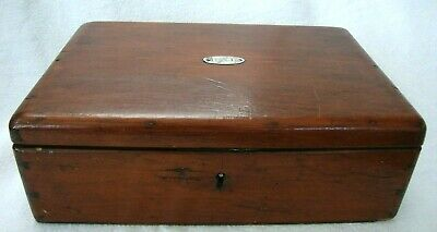 Antique Mahogany Wooden Box Silver Initialed Plaque Lovely Artisan Dove Tail