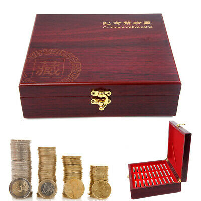 30pcs Round Coin Box Storage Container Holders Wooden Case Coin Collection Box