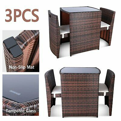 Marvelous 3Pcs Wicker Bistro Set Patio Furniture Space Save Rattan Onthecornerstone Fun Painted Chair Ideas Images Onthecornerstoneorg