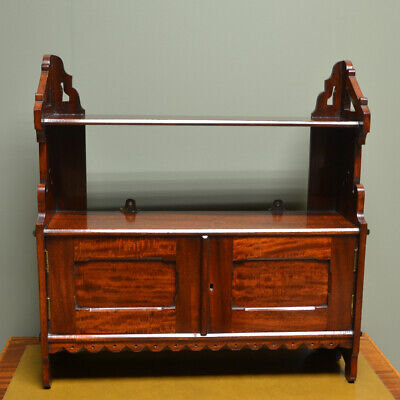 Stunning Victorian Arts & Crafts Mahogany Antique Wall Cabinet