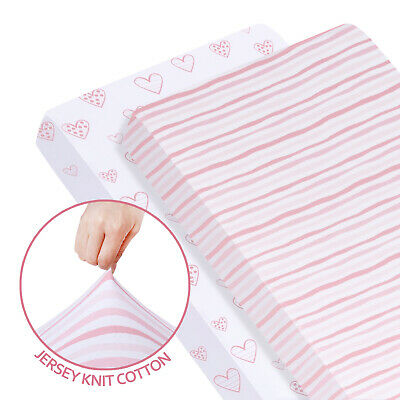"""Stretchy Fitted Standard Crib Sheet 100% Jersey Knit Cotton 2 Pack 52""""x28"""" Pink"""