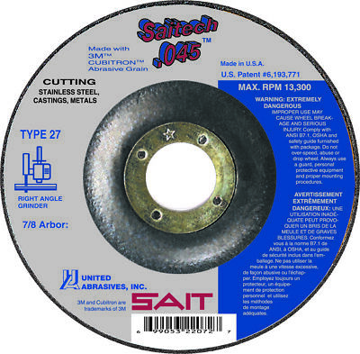 "SAIT Type 27 (42) Saitech 4-1/2"" x 7/8"" Arbor Flat .045 Cutting Wheels QTY 10"